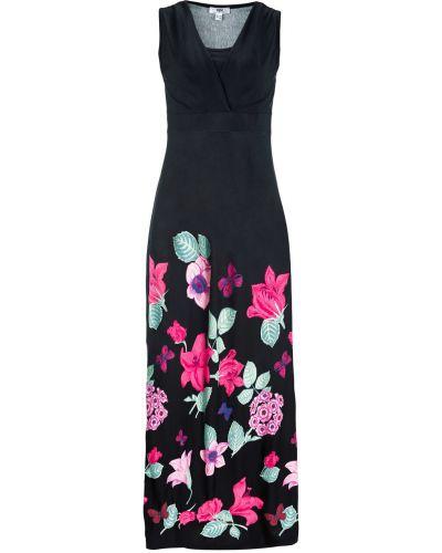 Платье с цветочным принтом с V-образным вырезом Bonprix