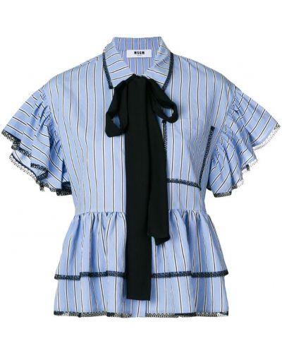 Кружевная блузка в полоску с рюшами классическая Msgm