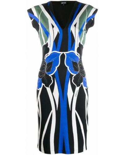 Платье миди с V-образным вырезом с принтом Just Cavalli