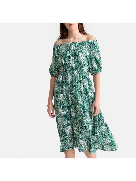 Расклешенное платье миди с рисунком с вырезом с короткими рукавами See U Soon