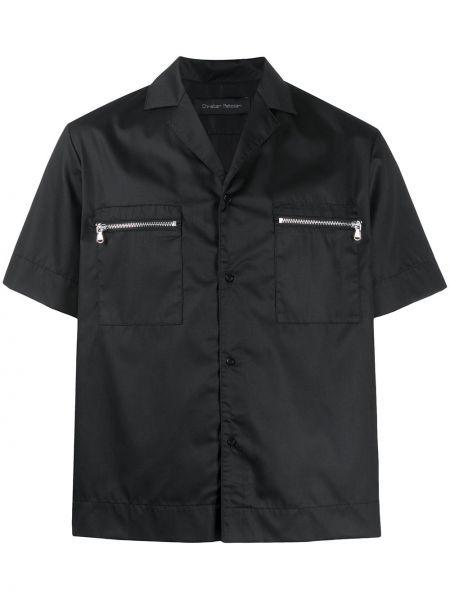 Czarna koszula krótki rękaw bawełniana Christian Pellizzari