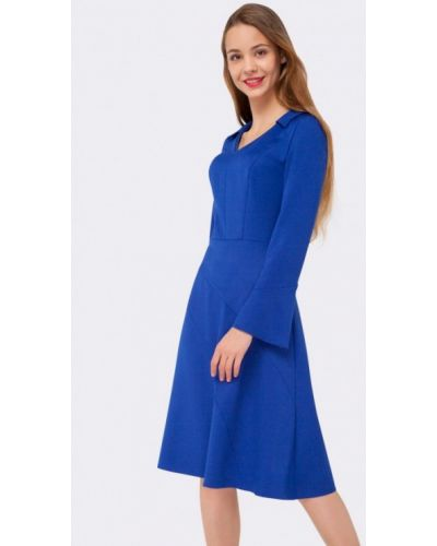 Платье миди осеннее синее Cat Orange
