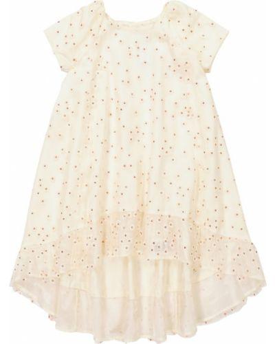 Белое платье из фатина с вышивкой Bonpoint