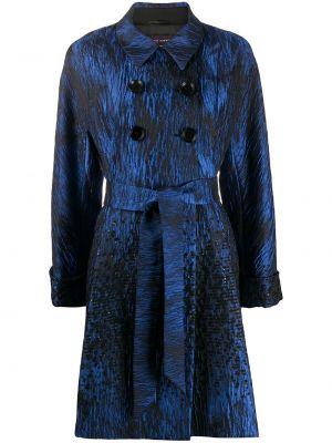 Синее пальто классическое с воротником с поясом двубортное Talbot Runhof