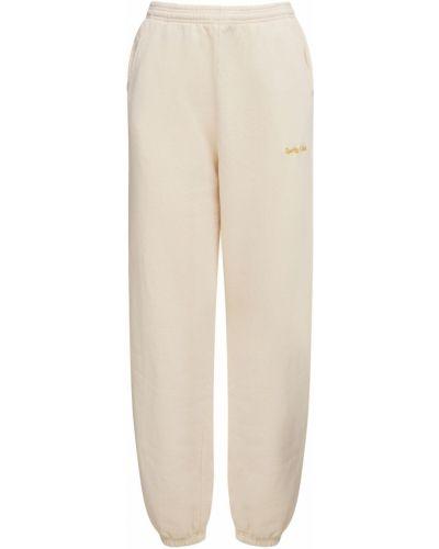 Бежевые классические брюки эластичные с вышивкой Sporty And Rich