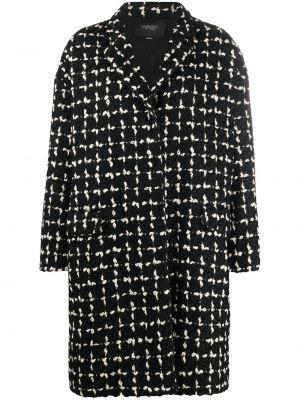 С рукавами черное шерстяное длинное пальто с лацканами Giambattista Valli