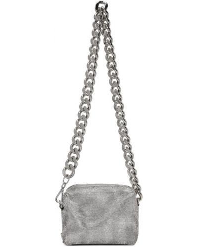 Сатиновая черная сумка на цепочке с сеткой двусторонняя Kara