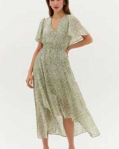 Шифоновое зеленое платье миди летучая мышь Love Republic