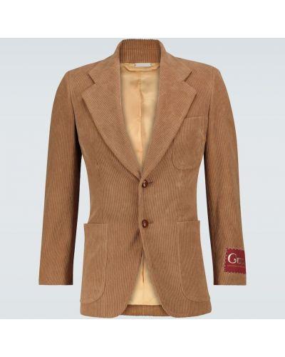 С рукавами однобортный коричневый пиджак Gucci