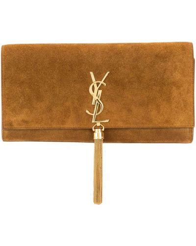 Brązowy zamsz pędzel do makijażu z kieszeniami z łatami Yves Saint Laurent Pre-owned