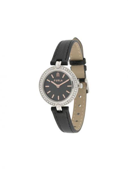 Z paskiem czarny zegarek na skórzanym pasku okrągły z prawdziwej skóry Furla