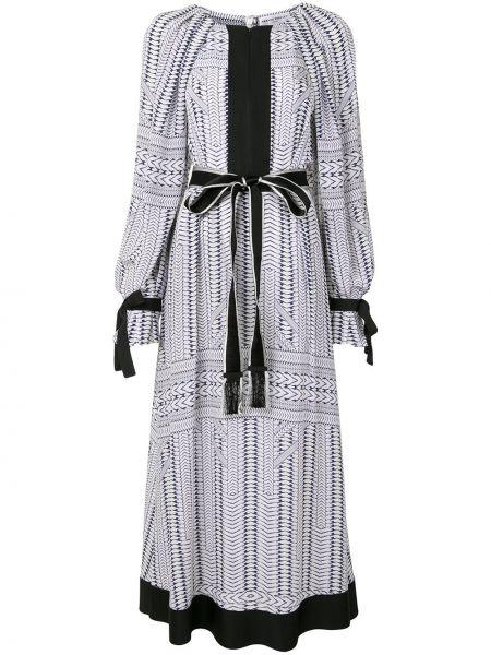 Белое шелковое платье макси с длинными рукавами с манжетами Amanda Wakeley