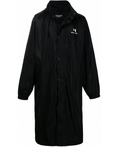 Czarny płaszcz przeciwdeszczowy z kapturem z długimi rękawami Balenciaga