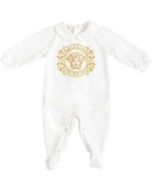 Z rękawami bawełna bawełna biały pajacyk Versace