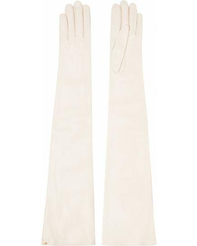 Белые кожаные перчатки длинные винтажные Gucci