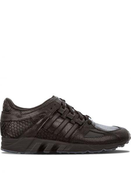 Кожаные черные кроссовки беговые для бега на шнуровке Adidas