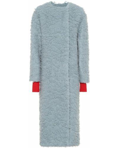 Синее шерстяное пальто Roksanda