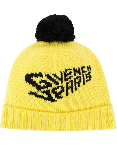 Шерстяная черная шапка бини с отворотом Givenchy Kids