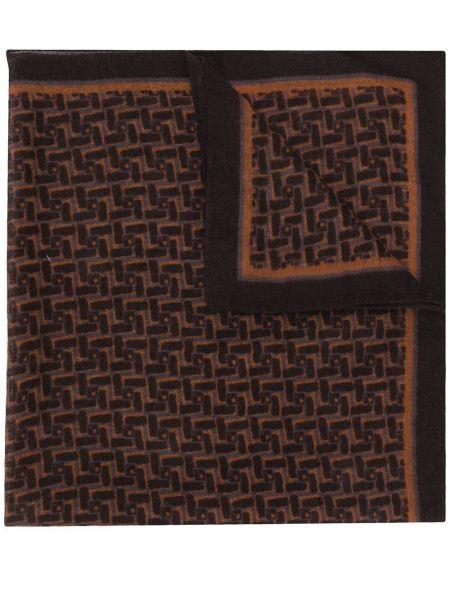 Brązowy szalik wełniany z printem Lardini