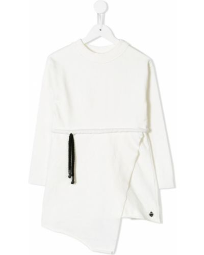 Платье с рукавами белое в рубчик Nostra Santissima Kids