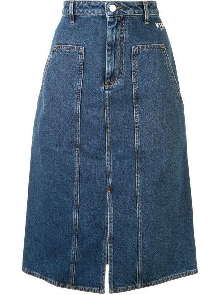 Синяя с завышенной талией джинсовая юбка с разрезом со вставками Msgm