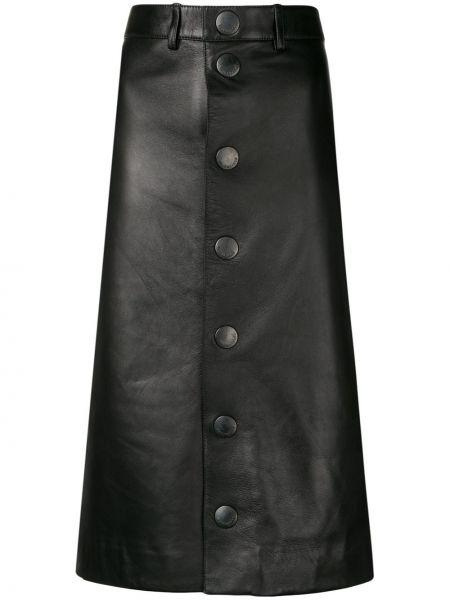 Черная кожаная юбка карандаш с рукавом 3/4 Balenciaga