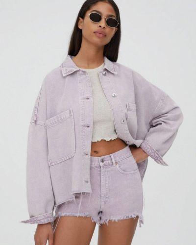 Джинсовая куртка с медведем - фиолетовая Pull&bear