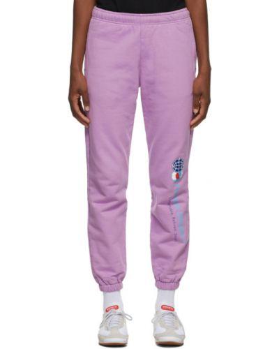 Махровые фиолетовые брюки с манжетами с карманами Rassvet