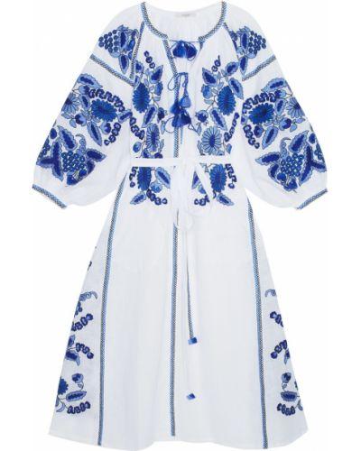 Льняное белое платье макси с вышивкой Vita Kin