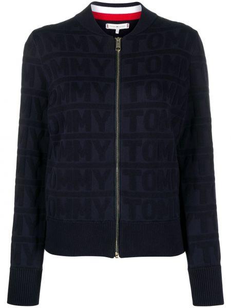Хлопковая синяя длинная куртка с карманами с длинными рукавами Tommy Hilfiger