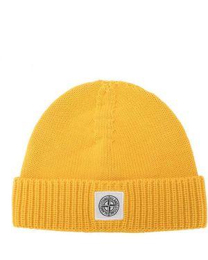 Хлопковая желтая шапка бини с отворотом Stone Island Junior