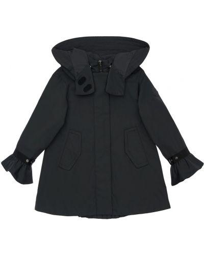 Nylon czarny kurtka z kapturem z mankietami Moncler