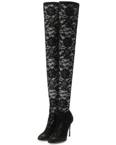 Сапоги-чулки на шпильке кожаные Dolce & Gabbana