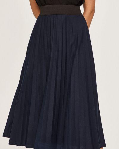 Расклешенная синяя плиссированная юбка на резинке в рубчик Answear