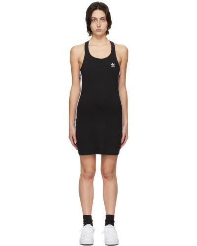 Трикотажное черное платье в полоску Adidas Originals