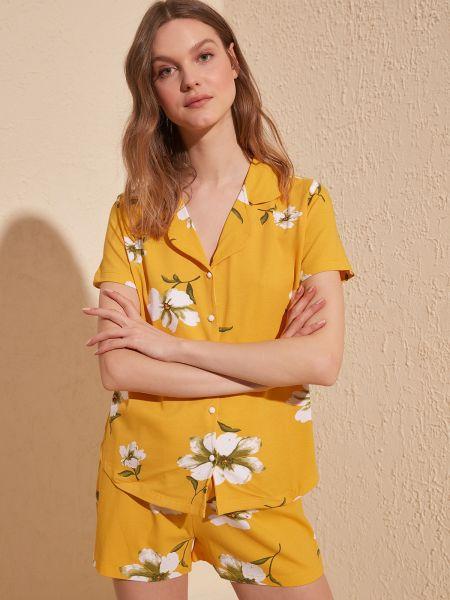 Piżama zapinane na guziki - pomarańczowa Trendyol