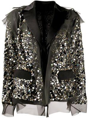 Нейлоновая черная куртка с пайетками на пуговицах Sacai