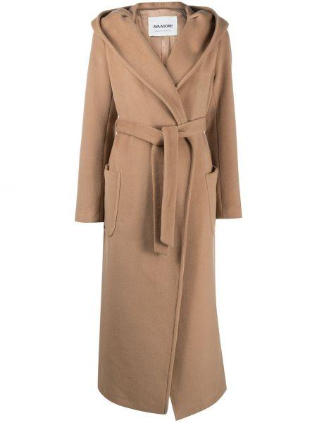 С рукавами шерстяное пальто классическое с капюшоном Ava Adore