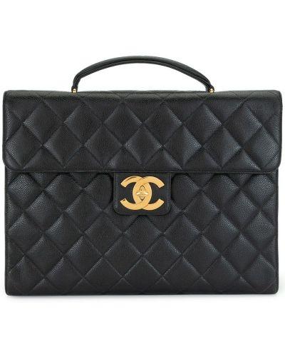 Czarny skórzany teczka z kieszeniami Chanel Pre-owned