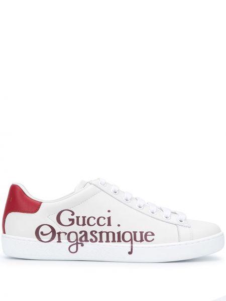 Biały skórzany ażurowy top zasznurować Gucci