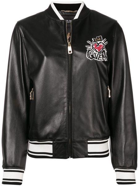 Черная кожаная куртка с манжетами на молнии круглая Dolce & Gabbana