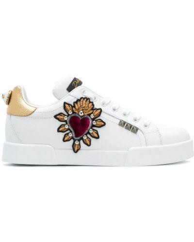Белые кроссовки с вышивкой Dolce & Gabbana