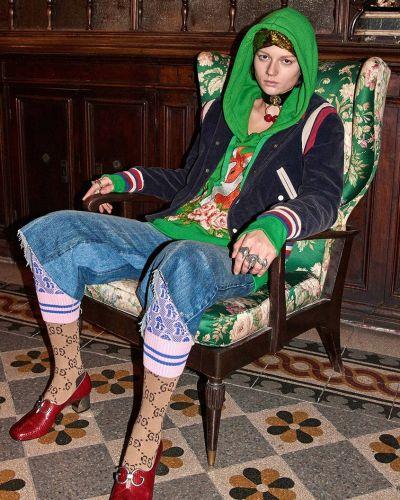 Зеленое хлопковое худи Gucci