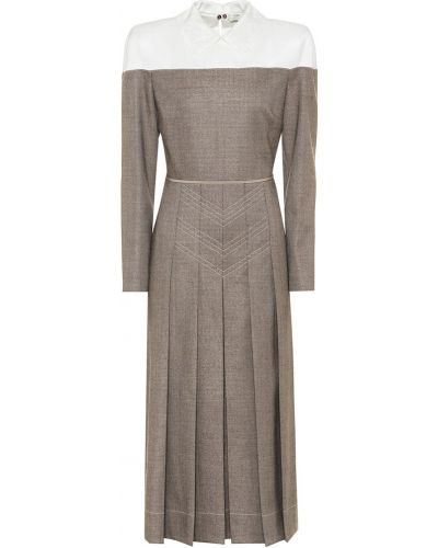 Коричневое платье миди Fendi