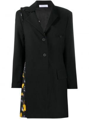 Черное однобортное шерстяное пальто на пуговицах Delada