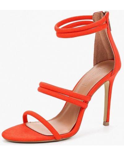 Босоножки на каблуке коралловый красный Topshop
