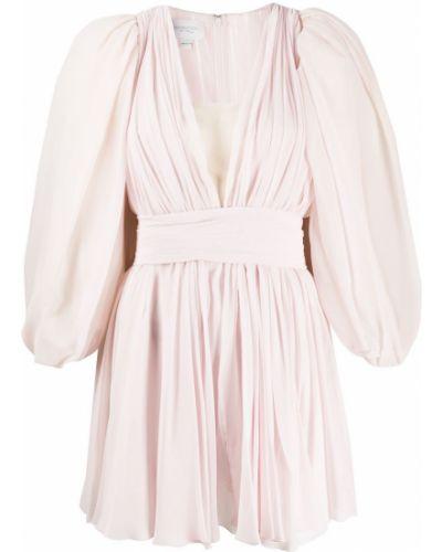 Розовое приталенное платье мини с V-образным вырезом свободного кроя Giambattista Valli