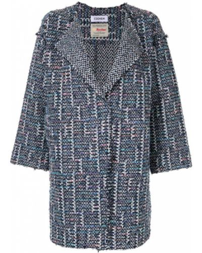 Синее длинное пальто с капюшоном Coohem