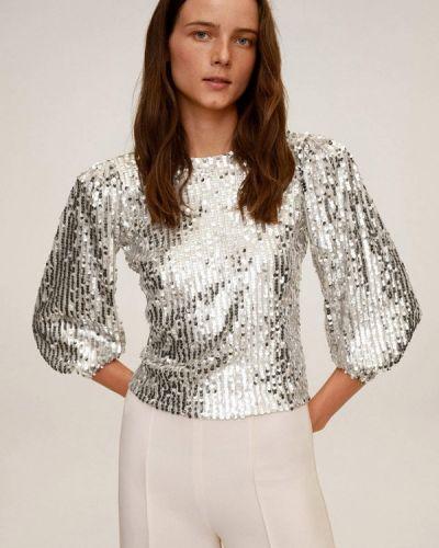 Серебряная с рукавами блузка Mango