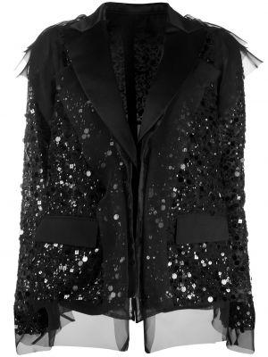 Шерстяной черный пиджак с карманами Sacai